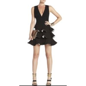 Katia Black Ruffled Sleeveless Flounce Dress Sz 4